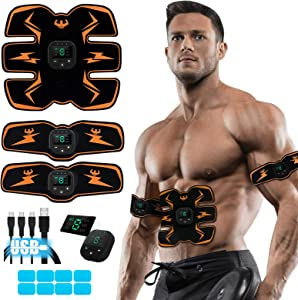 SPORTLIMIT Abs Stimulator with 10pcs Gel Pads, USB Rechargeable, Fitness Training Gear for Abdomen/Arm/Leg Training Home Office Exercise