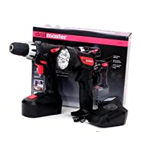 18 Volt Cordless 3/8 inch Drill and Driver with Keyless Chuck (Variable Speed and Reversible) and LED Flashlight Kit