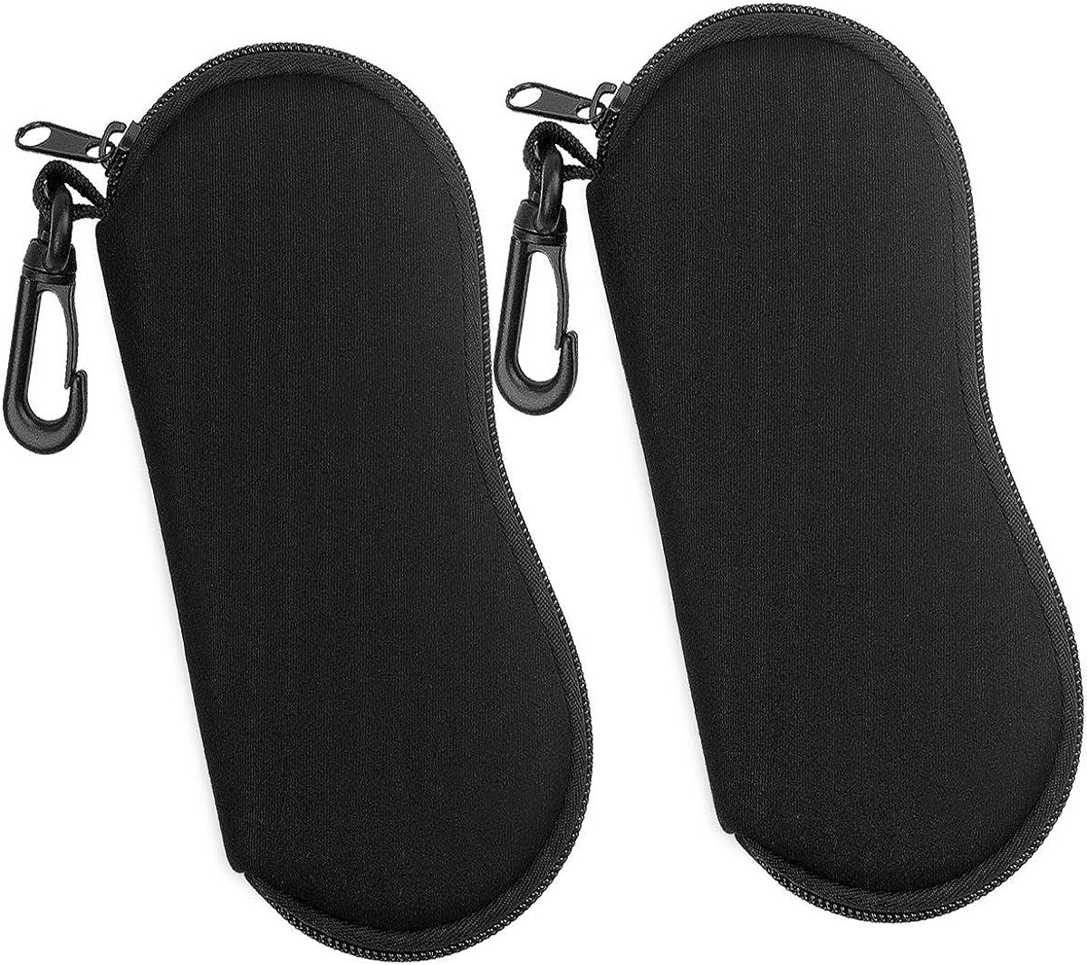 Eyewear Case Bag for Men Women Ultra Light Neoprene Zipper Glasses Soft Case Sunglasses Case Porteble Travel Eyeglasses Bag Sunglasses Pouch Holder with Clip Natuce 2PCS Soft Eyeglasses Case