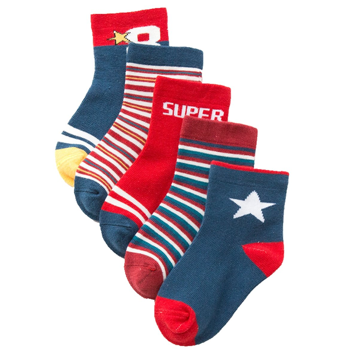 Little Boys Socks Cotton Stripe Comfort Crew Socks 5 Pair Pack Cczmfeas