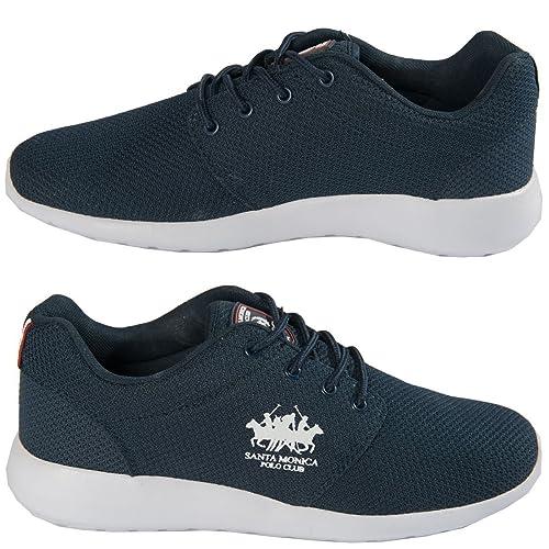 Santa Monica Polo Club hombre diseñador marca Zapatillas Cordones Deporte Zapatos Calzado Tallas 7-11 - Azul Marino, 10 UK: Amazon.es: Zapatos y ...