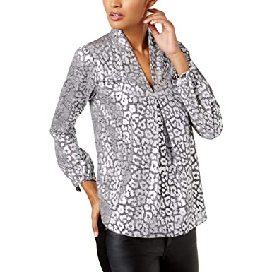 eca9a74ba45b1f Amazon.com: Michael Kors Womens Metallic Bishop Sleeve Blouse Silver ...