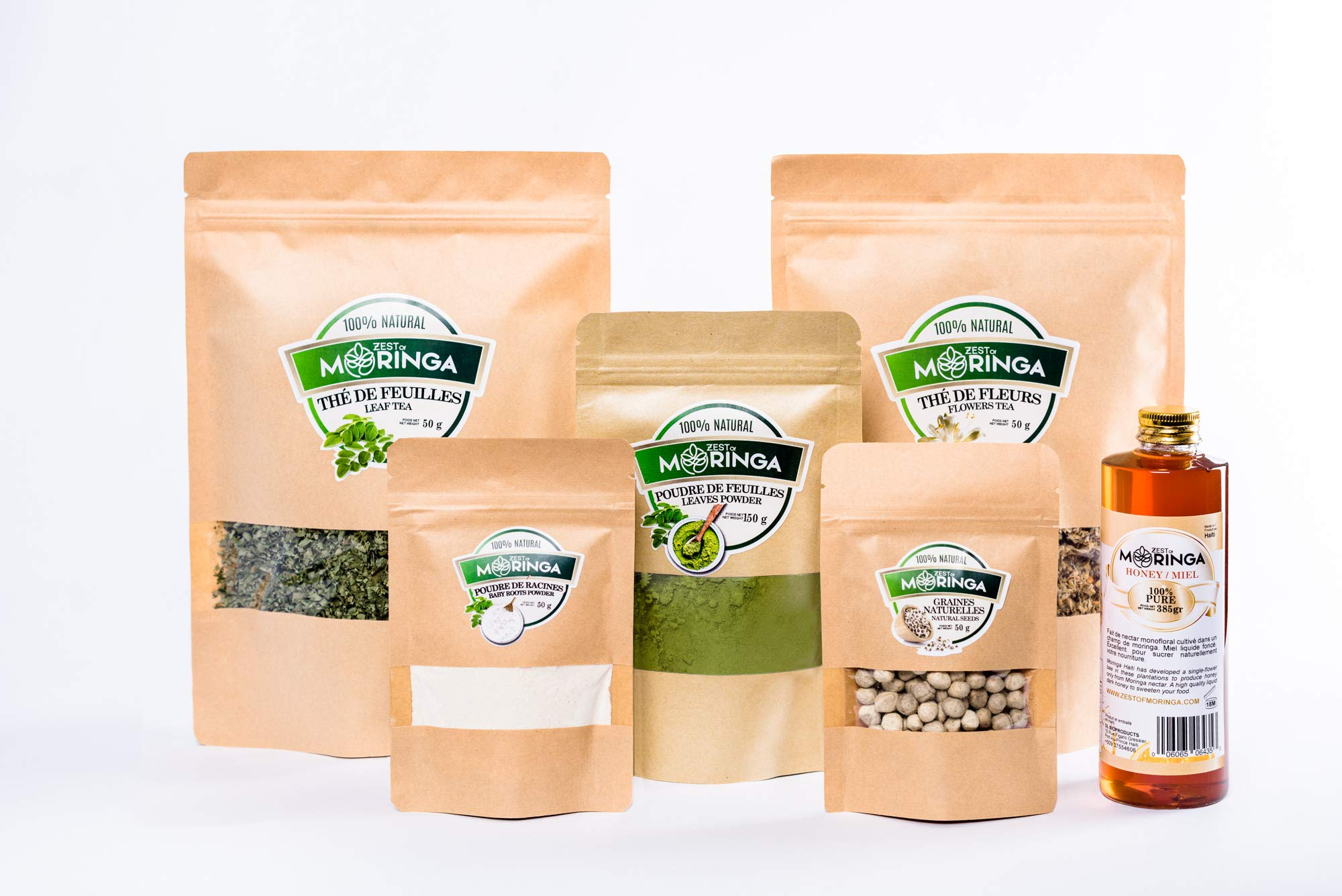 Super Healthy Moringa Oleifera Kit (6 Products) - Combos to Boost Your Immune System - Leaves Powder, Baby Roots Powder, Leafs Tea, Flowers Tea, Roasted Seeds, Mono-Floral Honey