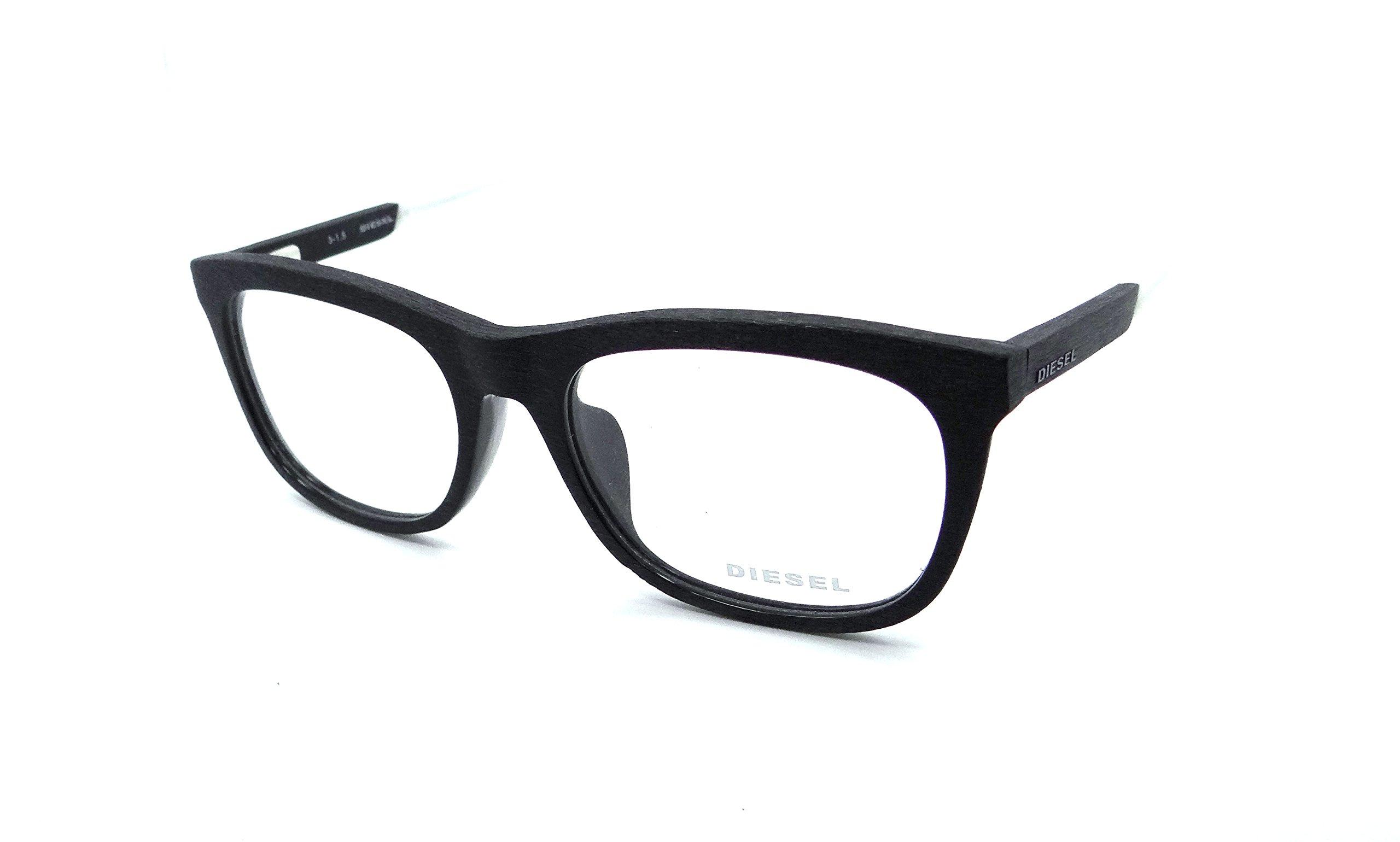 Diesel Rx Eyeglasses Frames DL5134-F 005 57-19-150 Black / White Wood Asian Fit