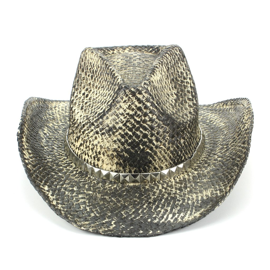 Hawkins Weathered Snakeskin Effect Straw Cowboy Hat with Studded Band