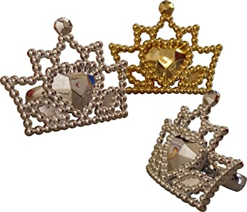 f61681d8c66 Gold   Silver Crown Rings Cup Cake Toppers (Pack Of 16)  Amazon.co ...