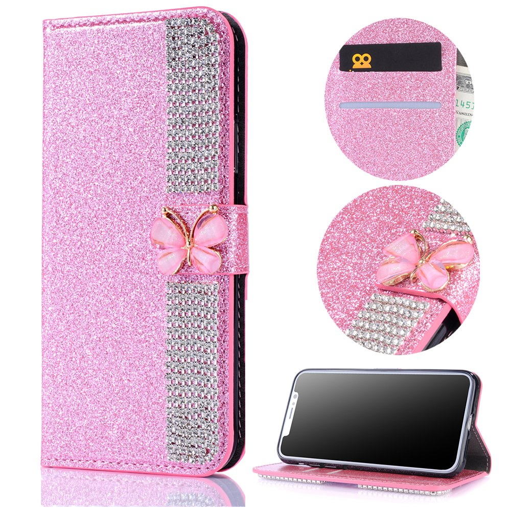 Stysen Wallet Case for iPhone 8 4.7'',Bling Pink Bookstyle with Strass Butterfly Bowknot Buckle Protective Wallet Case Cover for iPhone 8 4.7''/7 4.7''-Diamond,Pink