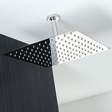 Koko Brand Rain16 16-inch Solid Square Ultra Thin Rain Shower Head, Polished Stainless Steel (Chrome))