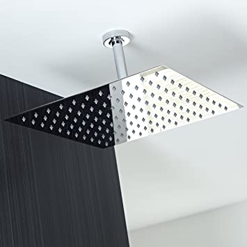 rain shower head review australia heads home depot brand solid square ultra thin polished stainless with handheld kohler