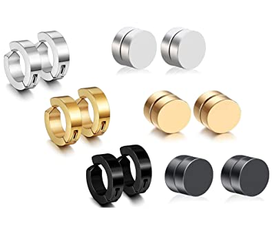 110003d41a250 Paxuan 6 Pairs Mens Womens Stainless Steel Silver Gold Black Non Pierced  Hoop Huggie Cuff Earrings Clip on Earrings Magnetic Stud Earrings Set