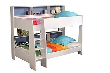 prisot 90x200 Kinder Etagenbett Doppelstockbett Weiß Rückwand Blau ... | {Etagenbett weiss 30}