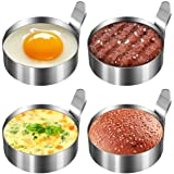 Koicaxy Egg Ring, 304 Stainless Steel Egg Mold with Heat Resistant Mitts Potholder Cooking Rings Egg Pancake Shaper Non Stick