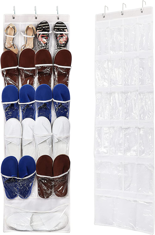 RLAVBL 2 Pack Over The Door Shoe Organizer Rack Clear Hanging Shoe Holder