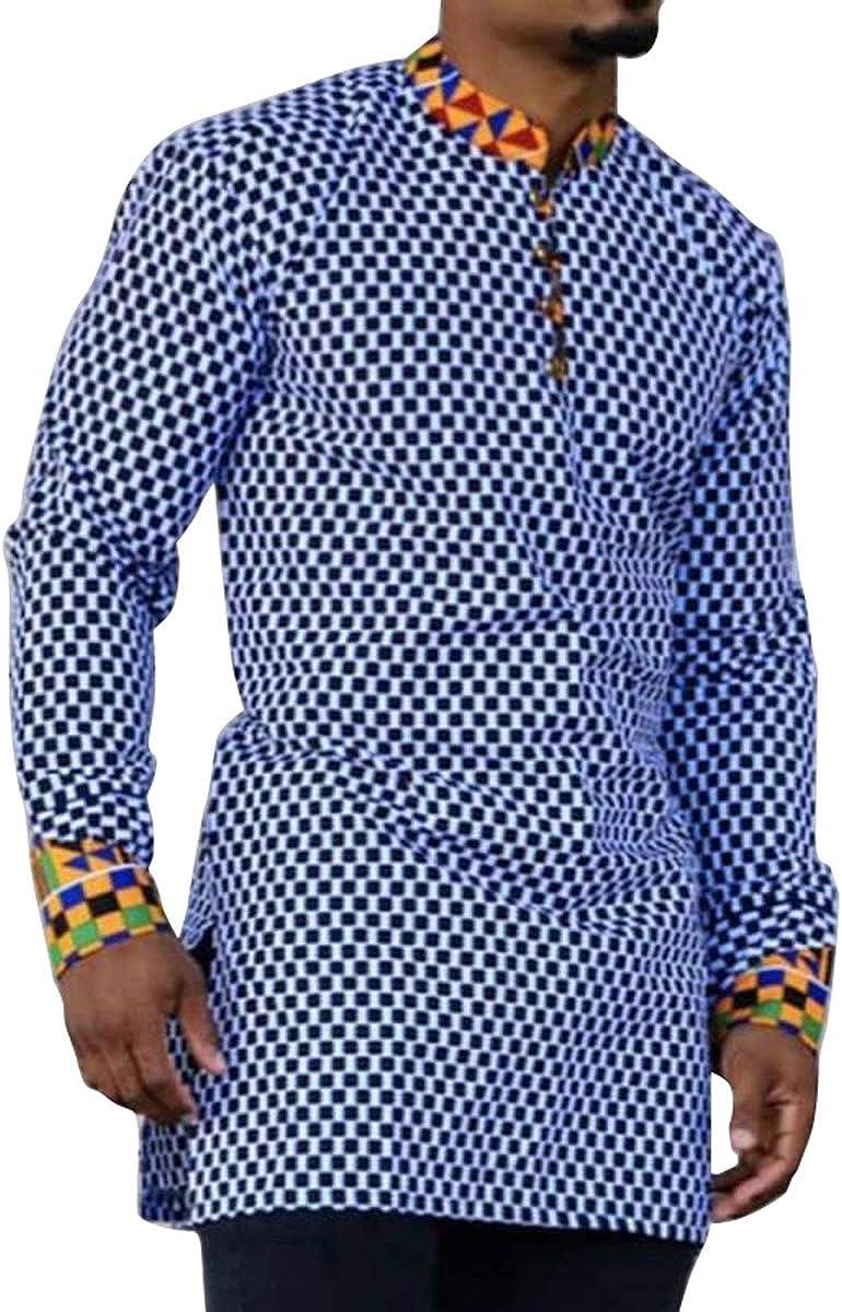 VERWIN Stand Collar Plaid Casual Long Sleeve Men's T-Shirt Casual Mens Loose Top