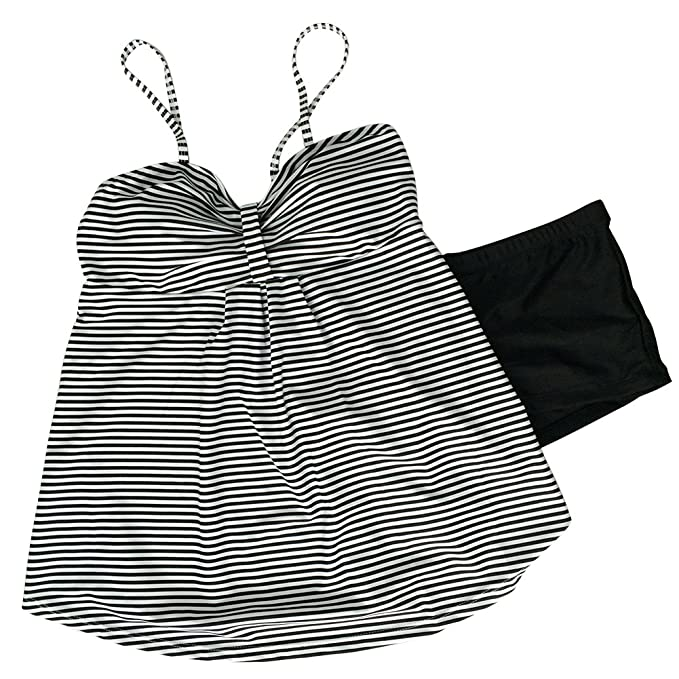 0ca0473ab0df0 Amazon.com: Rookay Women Cami Strap Striped Tankini Swimsuit Panty 2 Piece  Boat Neck Bathing Suit Low Back: Clothing