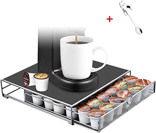 36 K Cup Holder Rack Storage Fits Keurig Coffee Pod Silver Drawer Organizer Mat