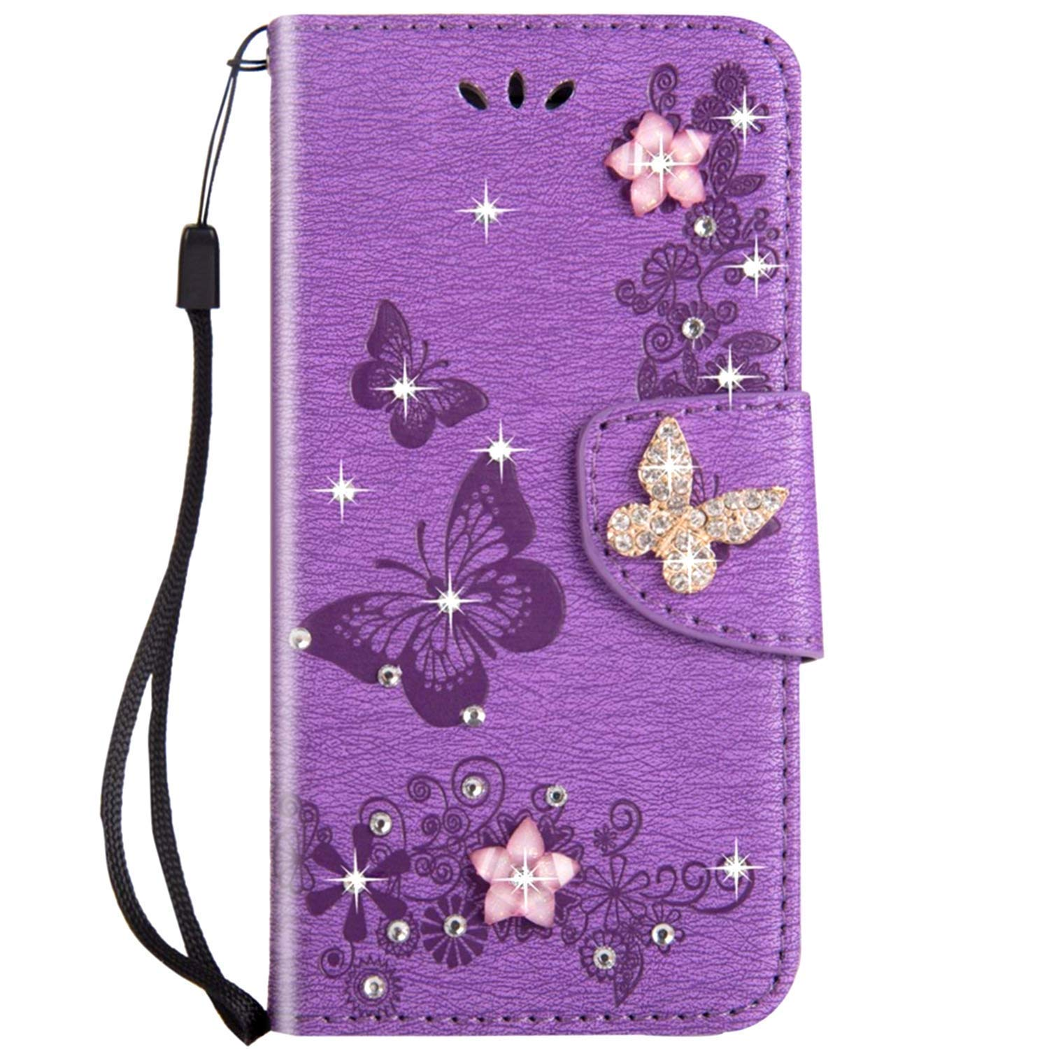 PU Leather Wallet Folio Full Body Cover 3D Bling Sparkly Diamonds Butterfly Design Front and Back Magnetic Closure Card Slots Case,Blue JAWSEU Case Flip Compatible with Samsung Galaxy S7 Edge