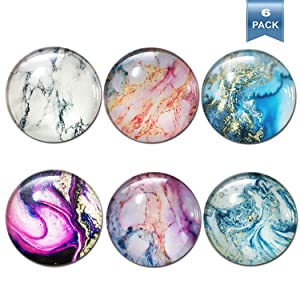 Refrigerator Magnets, Decorative Fridge Magnets, Calendar Cabinets Whiteboards Magnets for Office (6Pack Marble Magnets)