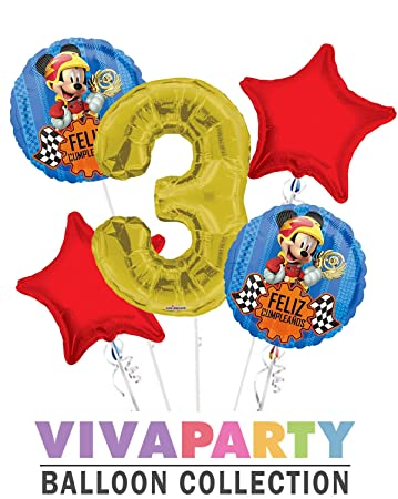 Amazon.com: Mickey Mouse Feliz Cumpleanos Balloon Bouquet 5 ...