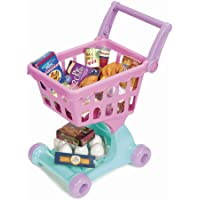 Play Circle by Battat – Pink Shopping Day Grocery Cart – Toy Shopping Cart with Pretend Play Food Items – Realistic…