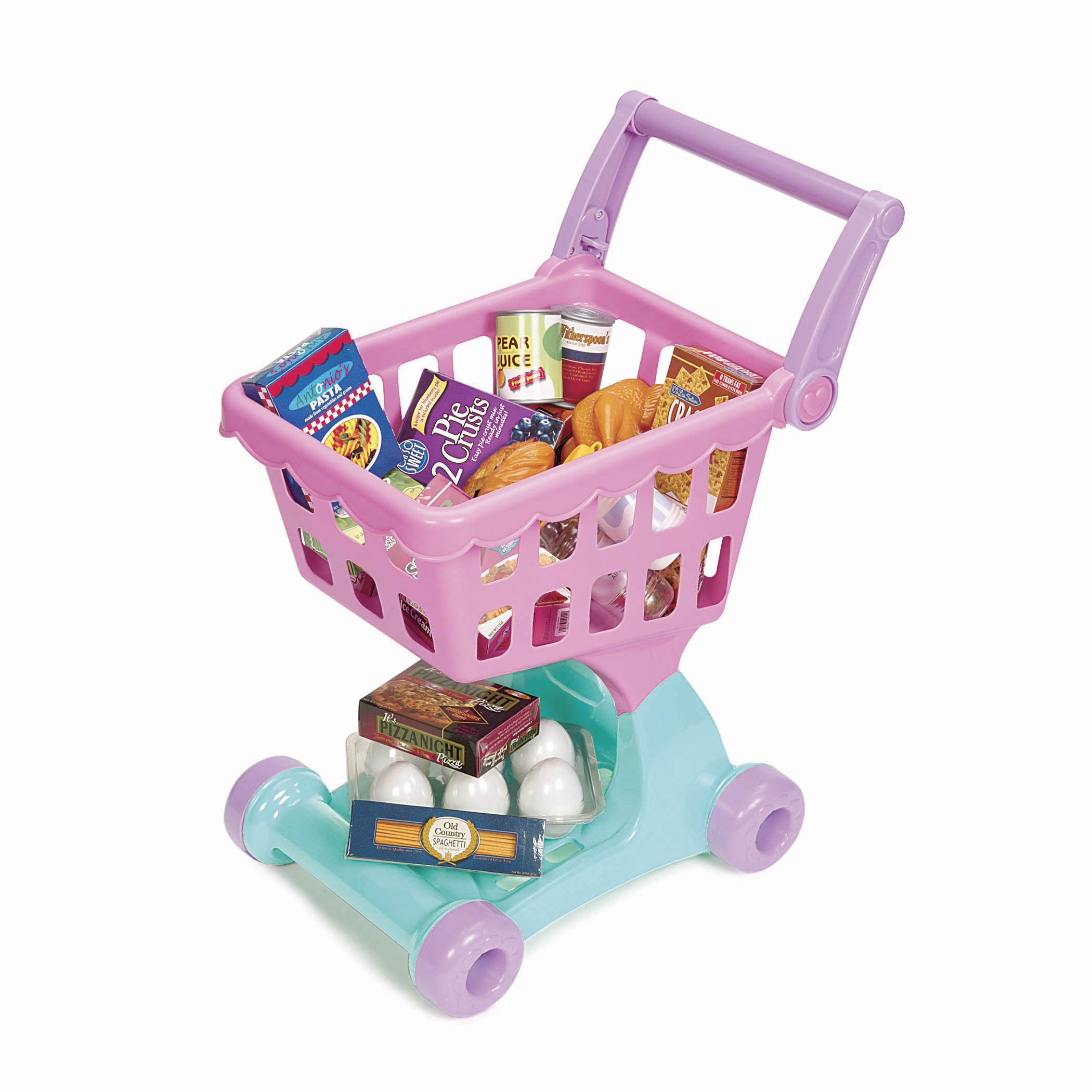 Play Circle by Battat - Shopping Day Grocery Cart - 30-piece Toy Shopping Cart and Pretend Food Playset - Grocery, Kitchen and Food Toys for Toddlers Age 3 Years and Up