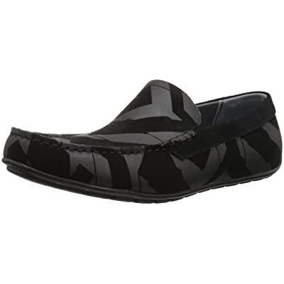 Calvin Klein Men's Isaac Calf Sde/Geo Print/Calf Sde Slip-on Loafer, Black, 9 M US | Loafers & Slip-Ons