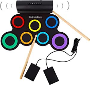 Roll-up Electronic Drum Sets for Kids, with Headphone Jack Built-in Speaker, Drum Pedals, Drumsticks, 7 Keys, Rechargeable Practice Drum Pad for Beginners,Rainbow Color