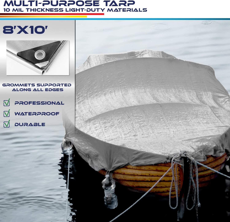 Windscreen4less 10 x 10 Heavy Duty 10 Mil Waterproof Silver Poly Tarp