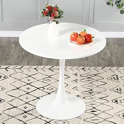 Buy Round Dining Table 32 Mid Century Modern Tulip Coffee Table With Mdf Round Top And Pedestal Base For 2 Or 4 Person End Table Leisure Table Kitchen Table Office Table For Small Space In