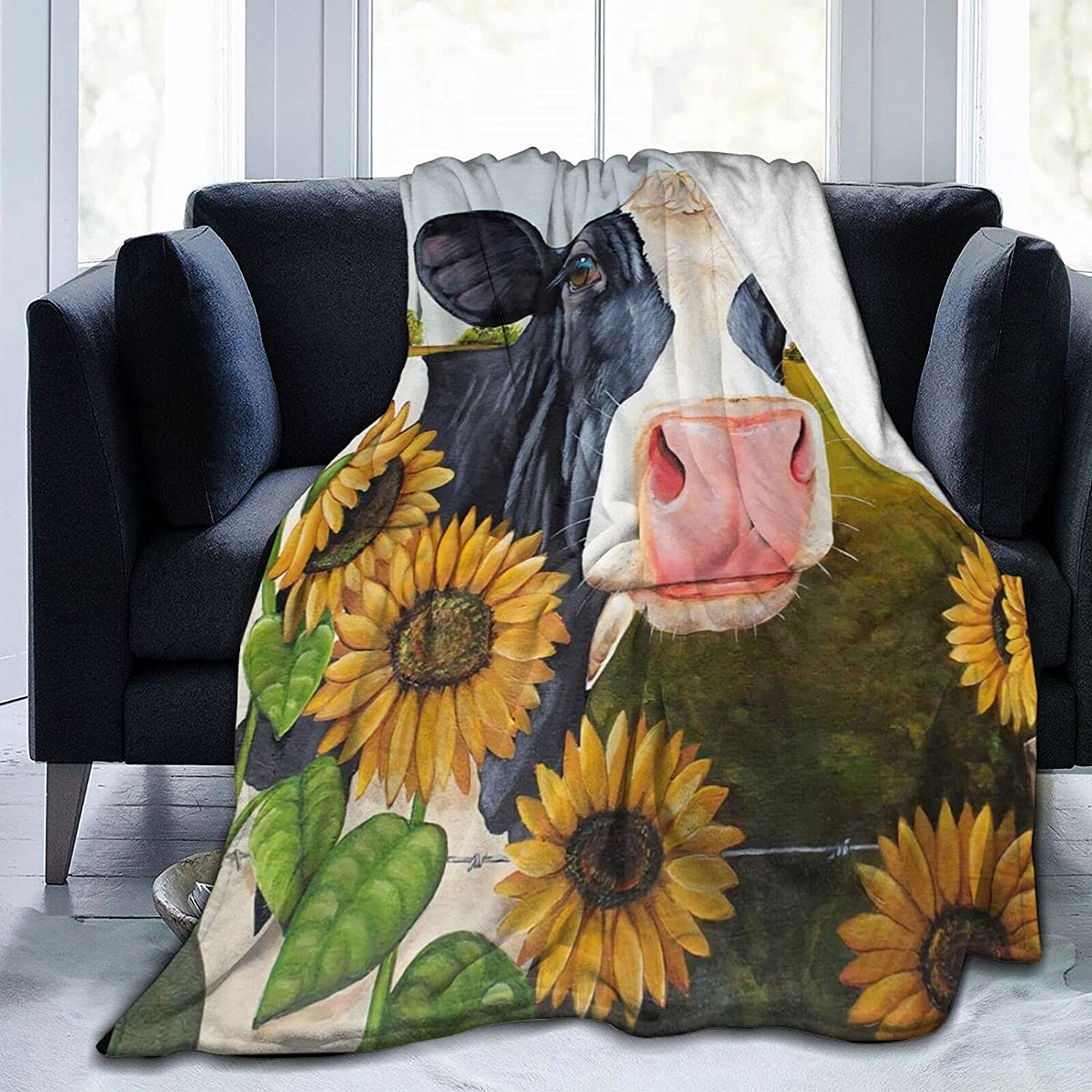 ASYOURWISH Virginia Beach Mall Sunflower Cow Throw Ranking TOP7 for Couch Blanket