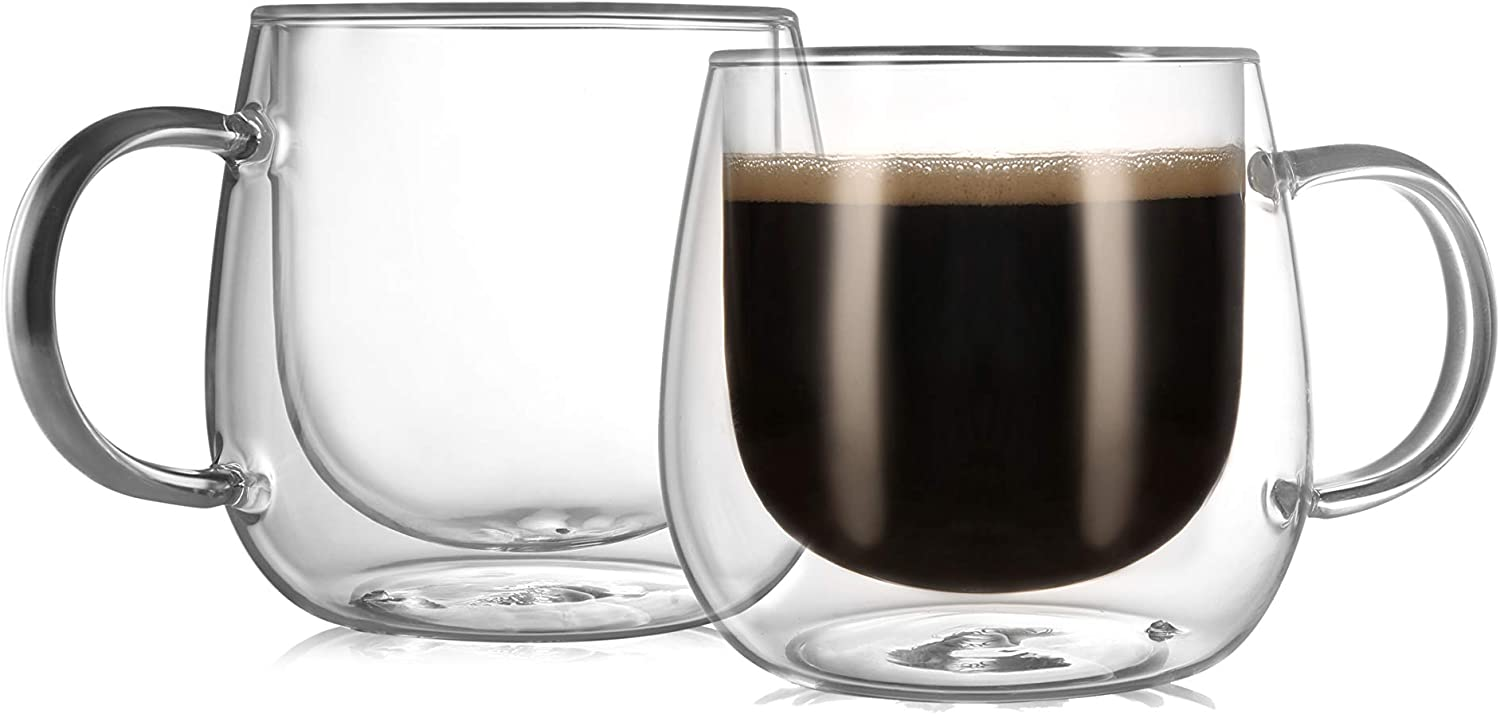 CnGlass Insulated Glass Coffee Mugs 10oz,Set of 2 Large Double Wall Glass Espresso Mugs,Clear Glasses Cappuccino Mug with Handle(Tea Latte Glassware)