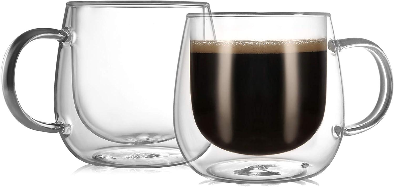 CnGlass Insulated Glass Coffee Mugs 10oz,Set of 2 Large Double Wall Glass Espresso Mugs,Clear Glasses Cappuccino Mug with Handle(Tea Latte Glassware)