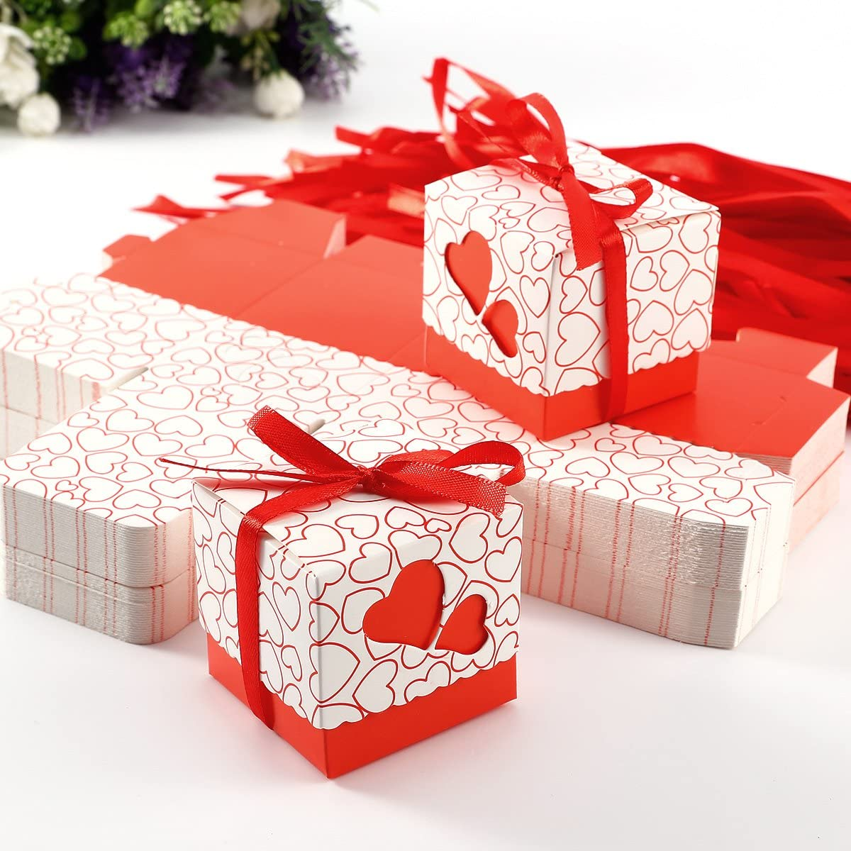 Pack of 100 Heart Favour Boxes Wedding Sweet Bags Various Colors Red