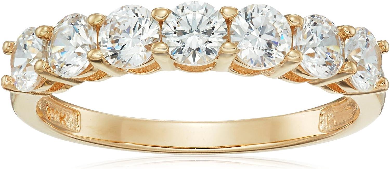 10k Gold Round-Cut 7-Stone Ring made with Swarovski Zirconia Statement Amazon Collection B01IQU2UMQ