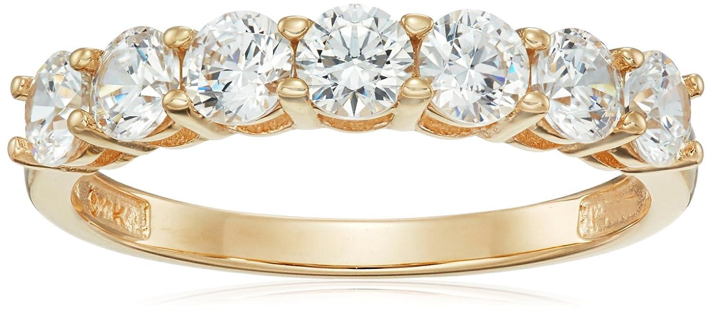 14e2037419fe0e Amazon.com: 10k Gold Round-Cut 7-Stone Ring made with Swarovski Zirconia:  Jewelry