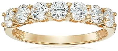 94d6b8444 10k Gold 7-Stone Round cut Made with Swarovski Zirconia Ring, Size 5