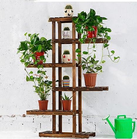 KELE Madera sólida Soporte Flor Maceta, Asimetría Aire Libre Pie de Interiores Macetas de Plantas Escalera Soporte de exhibición de Plantas-B: Amazon.es: Hogar