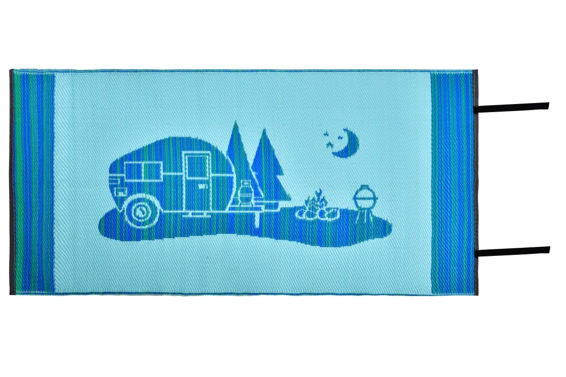 Snowbird Light Reversible Mat- Happy Camping (3 ft. x 6 ft, Blue) by Snowbird Mats