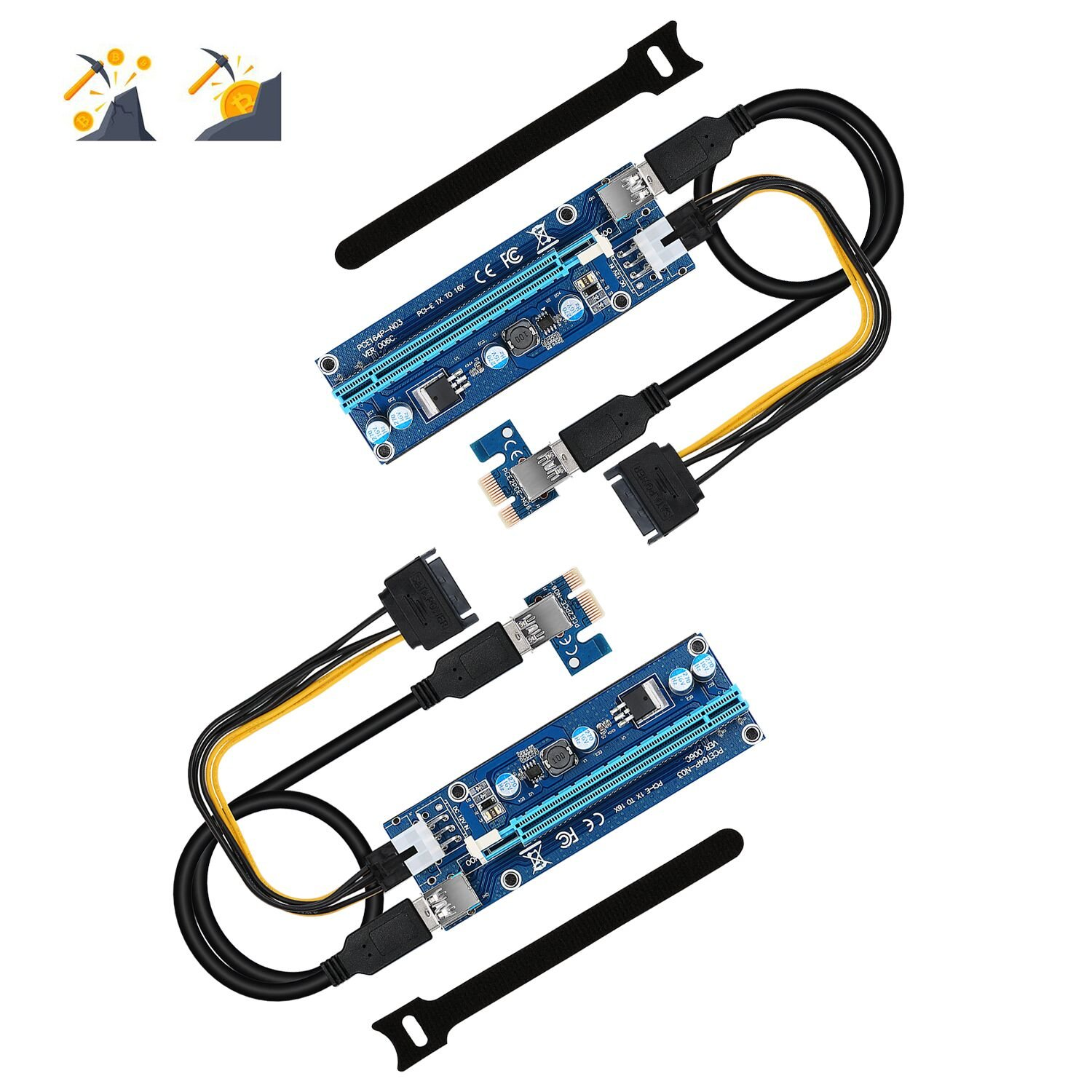 Computer & Office Trustful Pci-e 1x To 16x Extender Riser Card 6pin Cable With Led Light For Btc Miner A Great Variety Of Goods