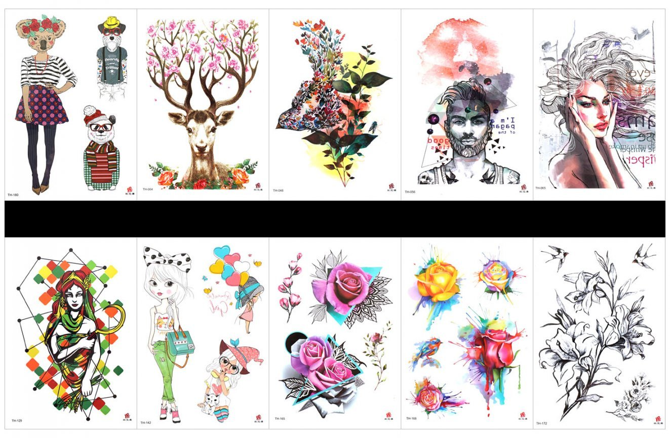 SPESTYLE 10pcs tattoo rose tattoos waterproof and non toxic real fake tattoos in 1 packages,including bird with flowers,women and man,beautiful lady,rose,flowers,animal lady and gentlement,deer,etc.
