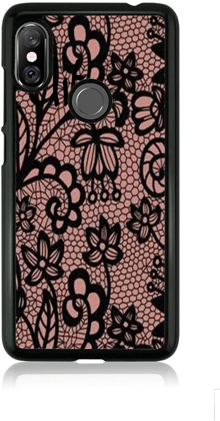 Funda Redmi Note 6 Pro Carcasa Xiaomi Redmi Note 6 Pro Fondo de encaje bordado Rosa negra con flores / Cubierta en TPU y aluminio / Cover Antideslizante Antideslizante Antiarañazos Resistente a golpe