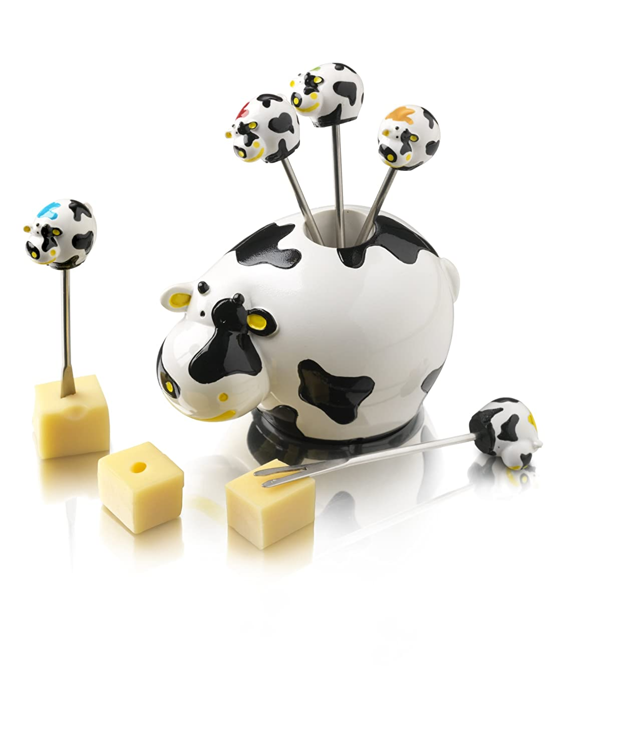 Boska 853704 Cow 7-Piece Party Pick Set Multi-Colour Stainless Steel
