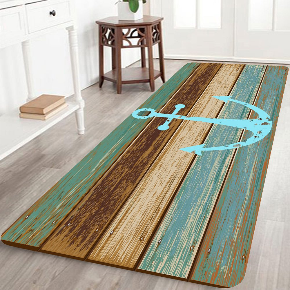 Bathroom Rugs Non-Slip Soft Absorbent Bath Mat with Nautical Anchor Flannel for Bathroom,Kitchen,Hallway,Floor Microfiber Turquoise and Brown 2'x6'