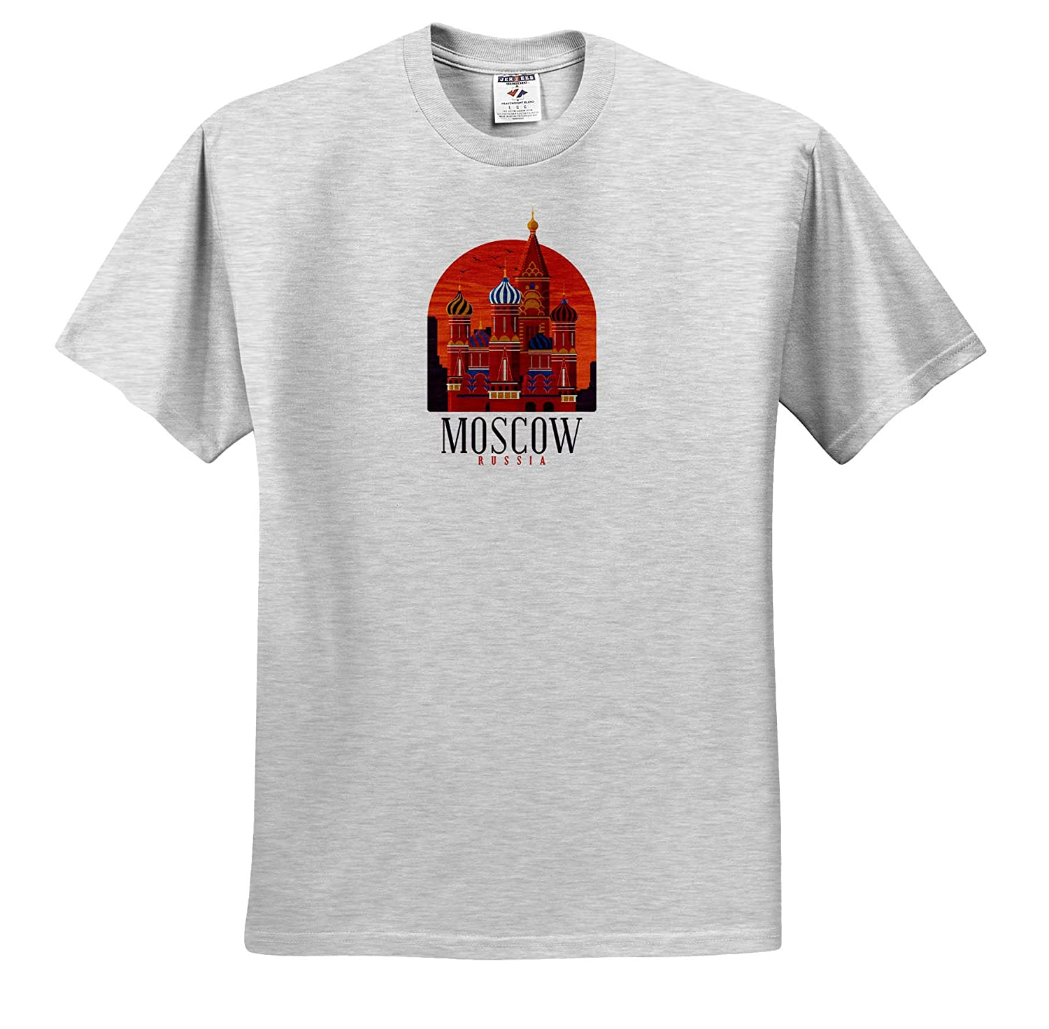 Moscow Russia with Vintage and Retro Colors Adult T-Shirt XL 3dRose Sven Herkenrath City ts/_311001