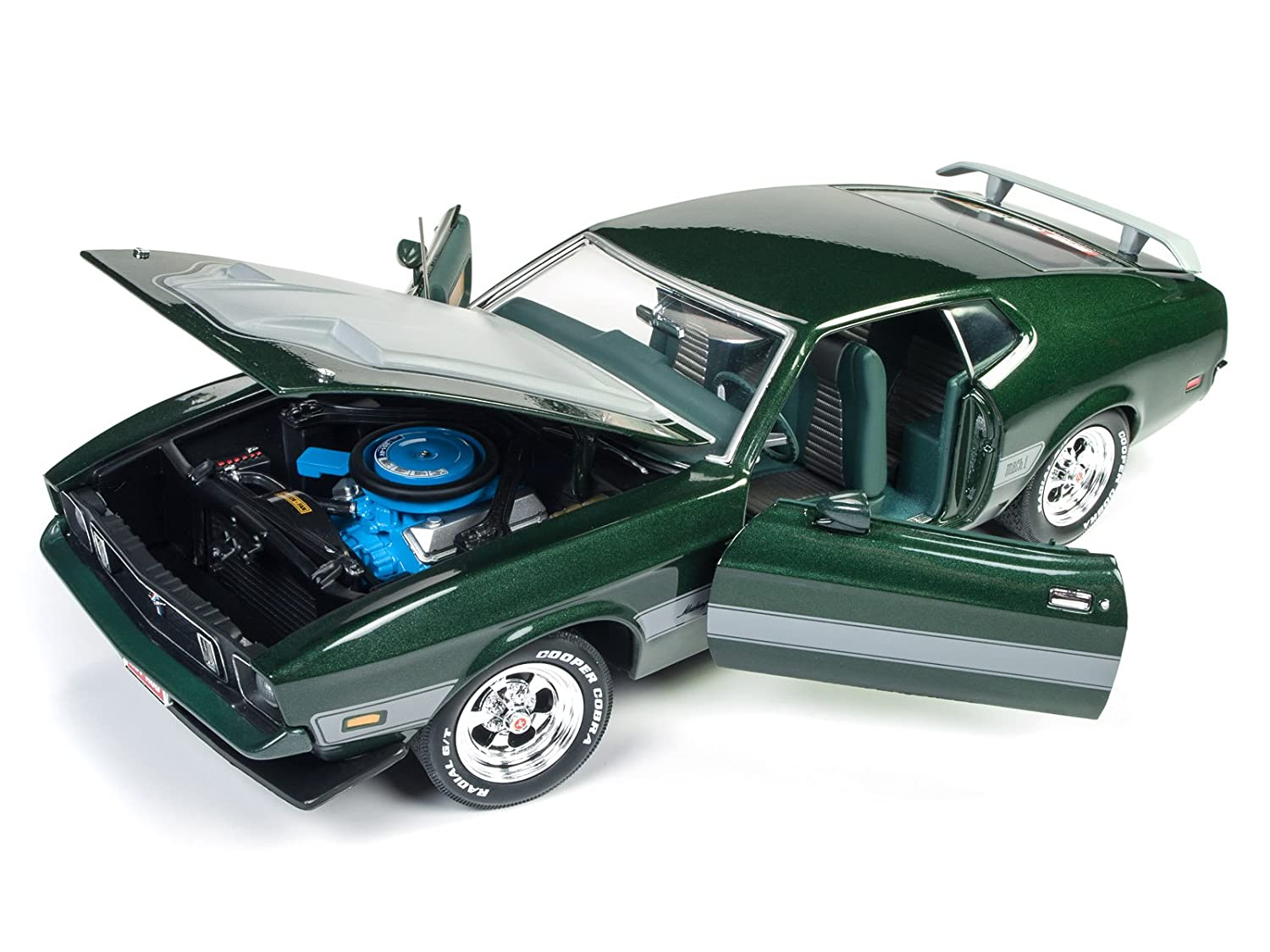 1973 ford mustang mach 1 dark green with silver stripes from hot rod magazine limited edition to 1002 pieces 1 18 diecast model car by autoworld amm1144