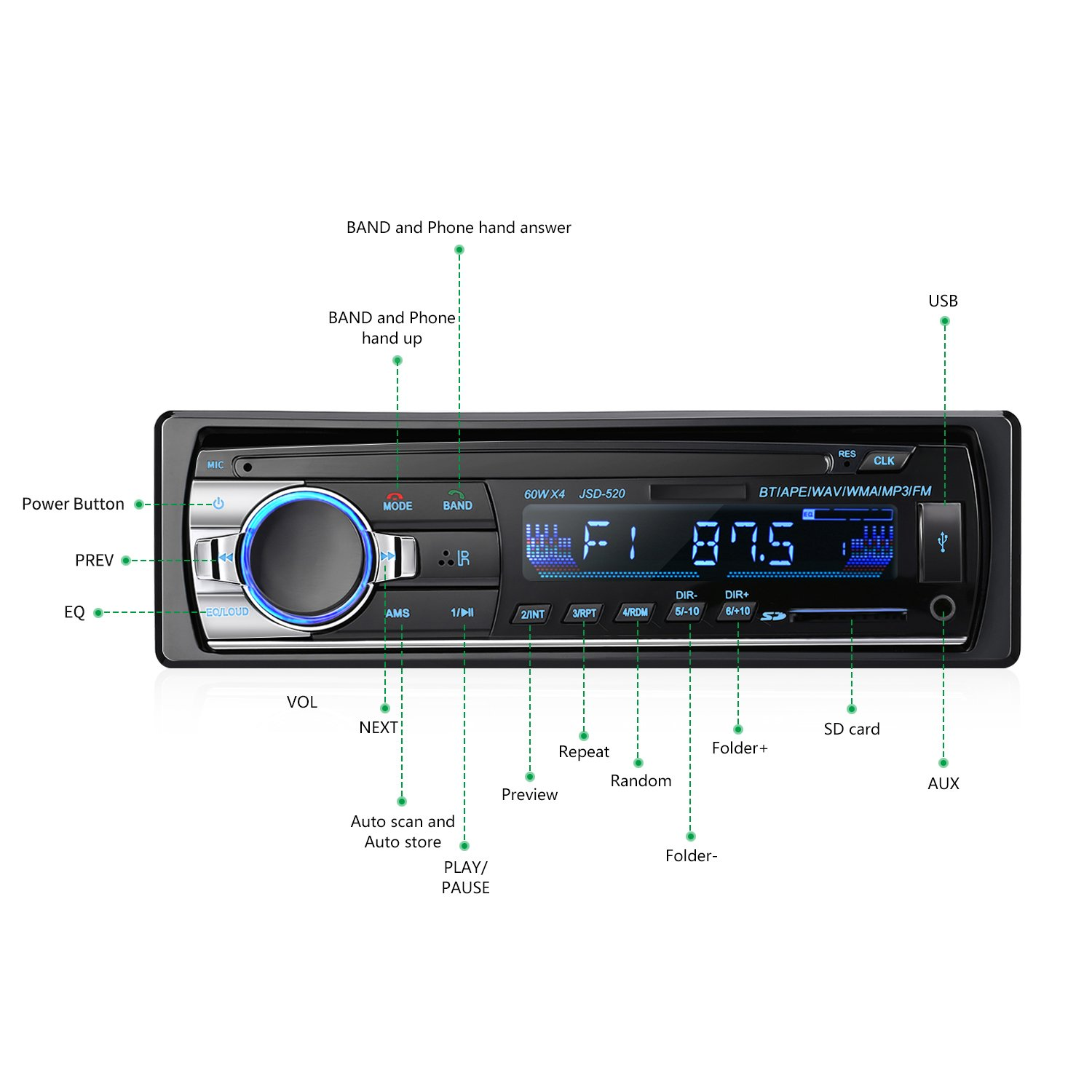 Bluetooth Car Audio Stereo Receiver Leshp 790 Kenwood Radio Wiring Diagram Single Din In Dash 12v Fm 60wx4 Mp3 Player With Remote