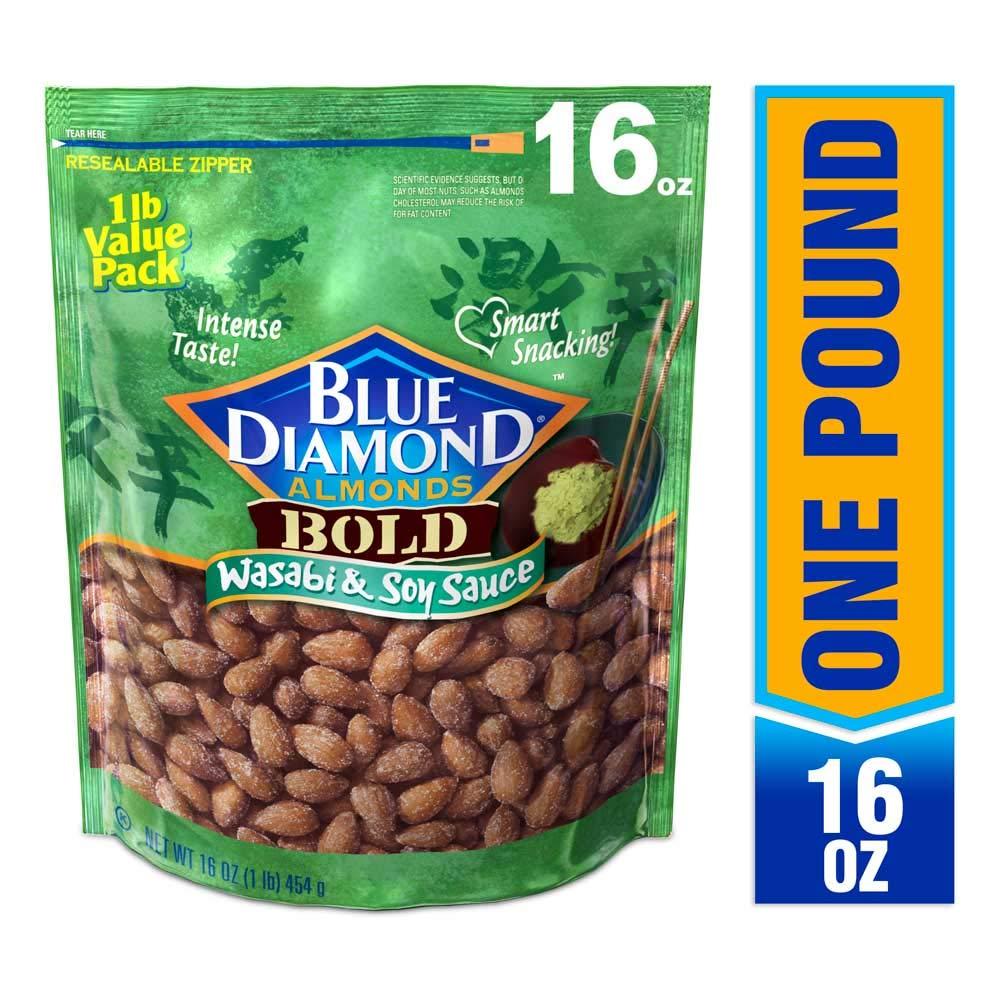 Blue Diamond Almonds, Bold Wasabi & Soy Sauce, 16 Ounce