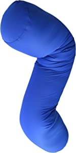 """Squishy Deluxe Microbead Body Pillow with Silky Smooth Removable Cover Extremely Huggable & Hypoallergenic, Doubles as a Pregnancy & Nursing Pillow; 47"""" X 7""""; Navy Blue"""