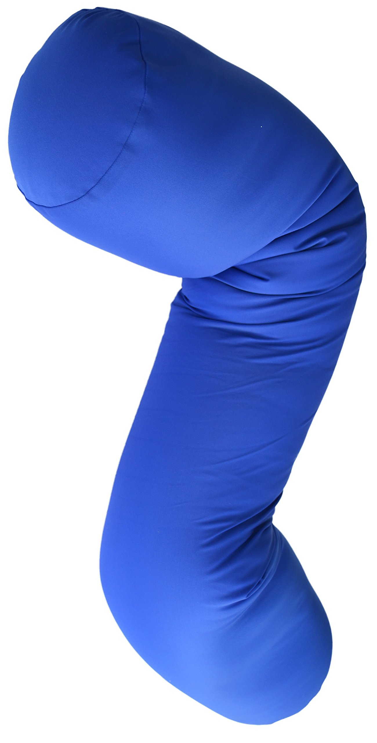 Squishy Deluxe Microbead Body Pillow with Silky Smooth Removable Cover Extremely Huggable & Hypoallergenic, Doubles as a Pregnancy & Nursing Pillow; 47'' X 7''; Navy Blue