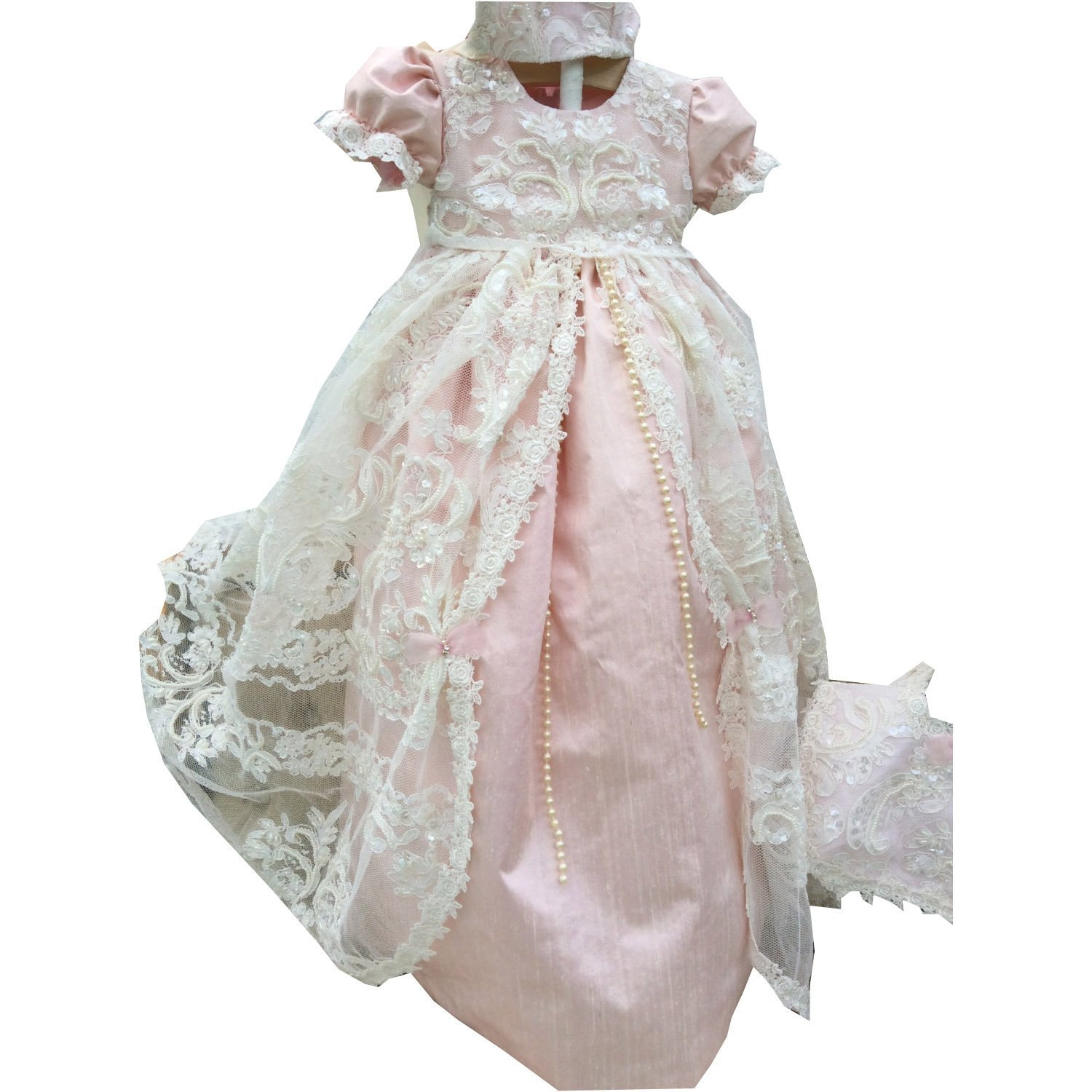 Kelaixiang Short Sleeve Luxury Lace Beading Christening Gown for Baby Girl (12-18months) by Kelaixiang